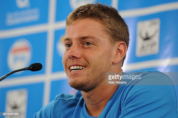 James Duckworth of Australia speaks to media after his match against Gilles Simon of France during day two of the 2015 Brisbane International at Pat...