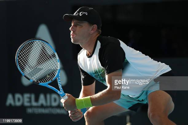 James Duckworth of Australia waits to return serve to Federico Delbonis of Argentina during day two of the 2020 Adelaide International at Memorial...