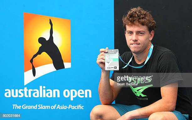 James Duckworth of New South Wales poses with his Australian Open accreditation after the Men's Australian Open 2016 Singles Playoff final between...