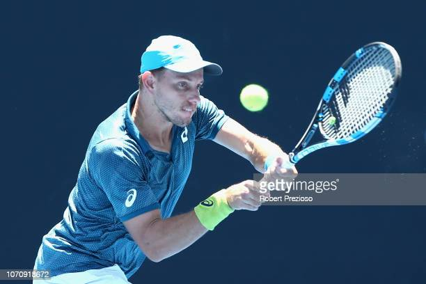 James Duckworth plays a backhand in his match against Blake Ellis during the 2019 Australian Open Playoff match at Melbourne Park on December 10 2018...
