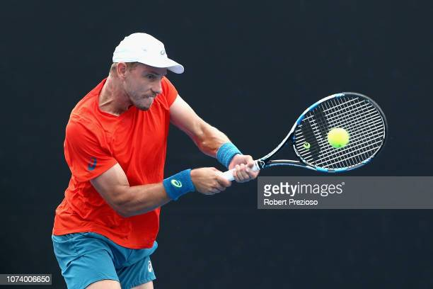 James Duckworth plays a backhand in his match against Luke Saville during the 2019 Australian Open Playoff at Melbourne Park on December 16 2018 in...