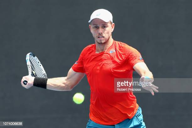 James Duckworth plays a forehand in his match against Luke Saville during the 2019 Australian Open Playoff at Melbourne Park on December 16 2018 in...