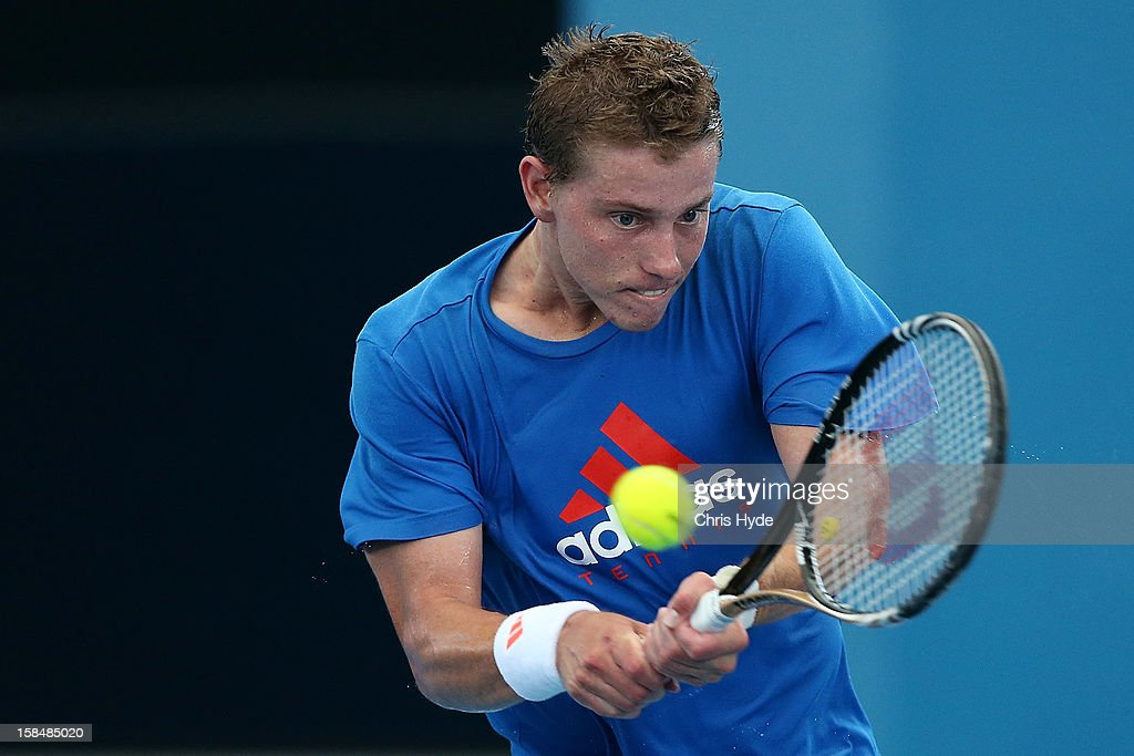 James Duckworth practices at Pat Rafter Arena on December 18, 2012, ahead of the 2013 Brisbane International in Brisbane, Australia.