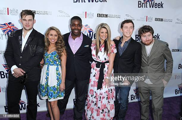 James Durbin Haley Reinhart Jacob Lusk Lauren Alaina Scotty McCreery and Casey Abrams attend the Champagne Launch Of 2011 BritWeek at British Consul...