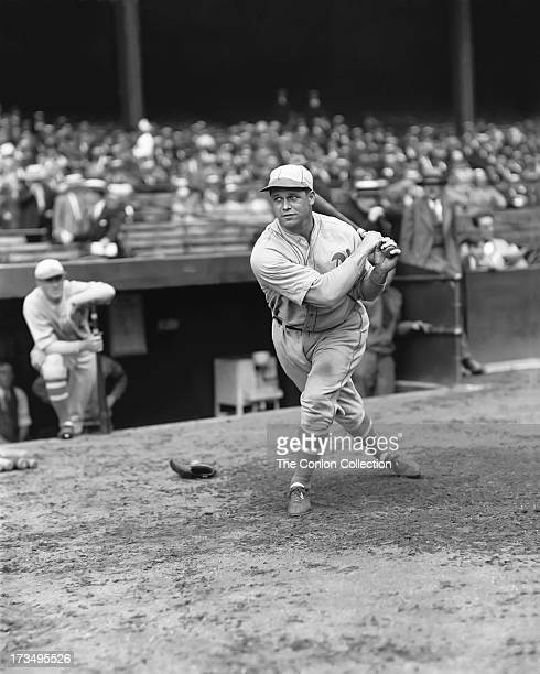 James E Foxx of the Philadelphia Athletics swinging a bat in 1927