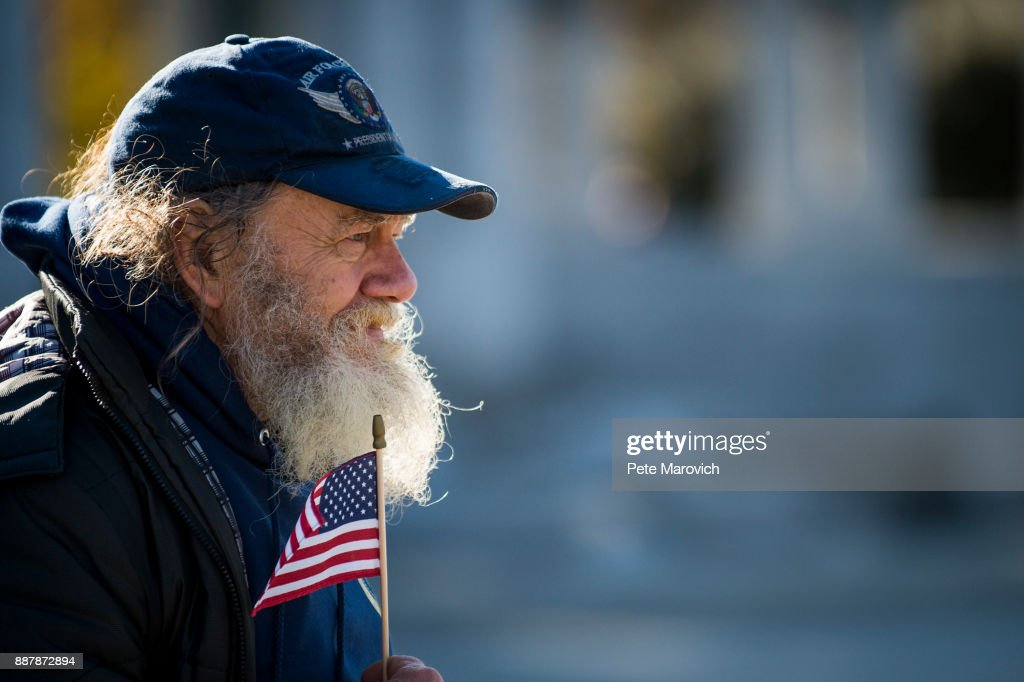 James Eads of Washington, D.C., looks on as the Friends of the National World War II Memorial and the National Park Service, commemorate Pearl Harbor Remembrance Day on December 7, 2017 in Washington, DC. World War II veterans and Pearl Harbor survivors placed wreaths at the Freedom Wall to commemorate the more than 400,000 Americans who lost their lives during World War II, including the more than 2,400 who lost their lives on December 7, 1941.