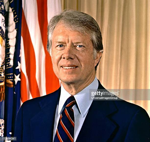 James Earl Jimmy Carter Jr 39th President of the United States from 1977 to 1981 Governor of Georgia 19711975 Headandshoulders portrait with...