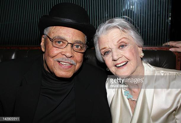 James Earl Jones and Angela Landsbury attend the Gore Vidal's The Best Man Broadway Opening night party at Brasserie 81/2 on April 1 2012 in New York...