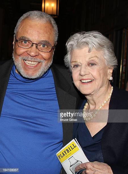 James Earl Jones and Angela Lansbury attend the 'Who's Afraid Of Virginia Woolf' Broadway Opening Night at The Booth Theatre on October 13 2012 in...