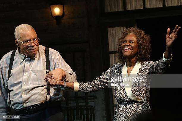 James Earl Jones and Cicely Tyson take their Opening Night Curtain Call for 'The Gin Game' on Broadway at The John Golden Theatre on October 14 2015...
