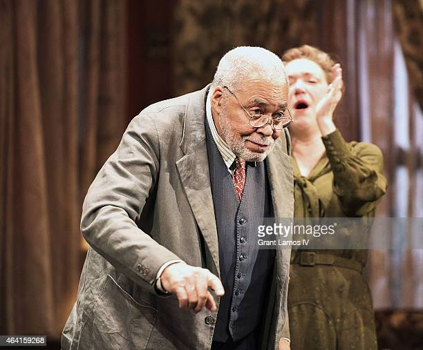 James Earl Jones and the cast of 'You Can't Take It With You' during the final curtain call at Longacre Theatre on February 22 2015 in New York City
