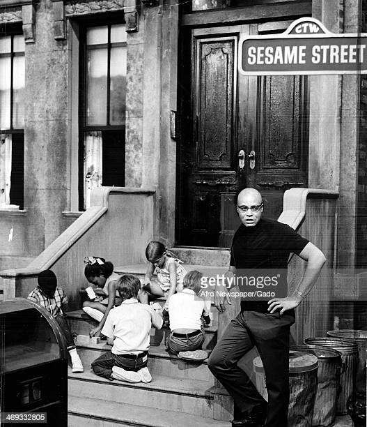 James Earl Jones guest stars on Sesame Street Television Studio with children 1970