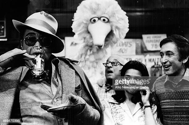 James Earl Jones guest stars on Sesame Street with regular cast members Big Bird Mr Hooper and Maria to try the perfect egg cream New York April 5...