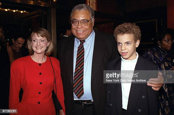 James Earl Jones, his wife Cecilia, and son, Flynn, arrive at the Ziegfeld Theater for the world premiere of ''Cry, The Beloved Country.'' Jones is...