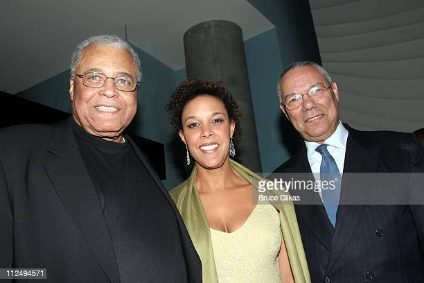 James Earl Jones Linda Powell and Colin Powell during On Golden Pond Opening Night on Broadway Curtain Call and After Party at The Cort Theater and...