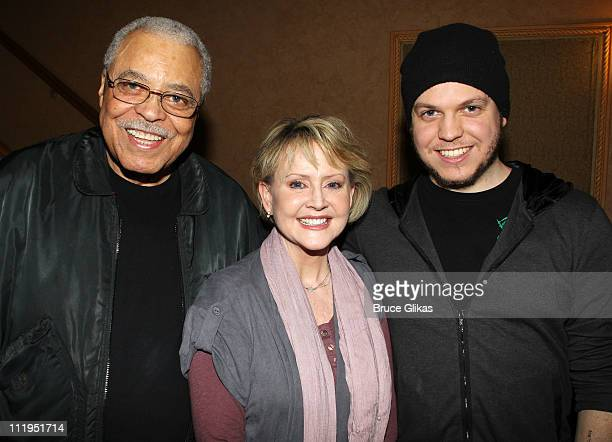 """James Earl Jones, wife Cecilia Hart and son Flynn Earl Jones pose backstage on closing night of the hit play """"Driving Miss Daisy"""" on Broadway at The..."""