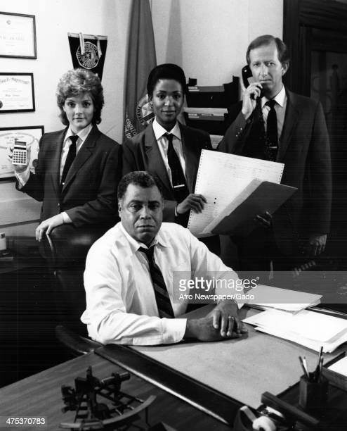 James Earl Jones with co stars Beverly Leech Mary Watson and Joe Howard on the detective drama Mathnet set 1970
