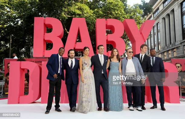 CJ James Edgar Wright Eiza Gonzalez Jon Hamm Lily James Kevin Spacey Ansel Elgort and Jamie Foxx attend the European Premiere of Sony Pictures 'Baby...