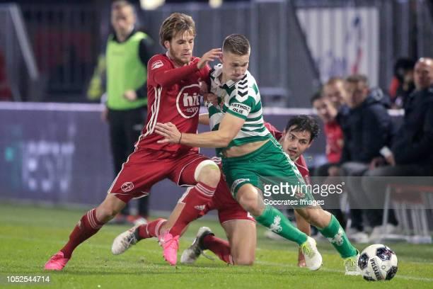 James Efmorfidis of Almere City Roland Baas of Go Ahead Eagles during the Dutch Keuken Kampioen Divisie match between Almere City v Go Ahead Eagles...