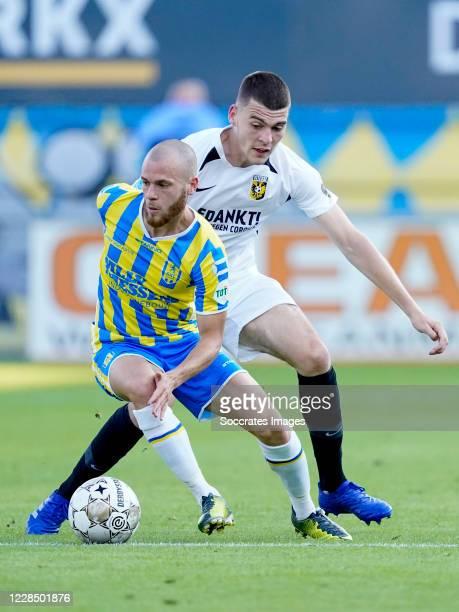 James Efmorfidis of RKC Waalwijk, Jacob Rasmussen of Vitesse during the Dutch Eredivisie match between RKC Waalwijk v Vitesse at the Mandemakers...