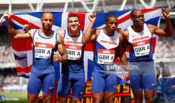 James Elliington Adam Gemili CJ Ujah and James Dasaolu of Great Britain pose for the camera after the Mens 4x100m Relay during Day Two of the Muller...
