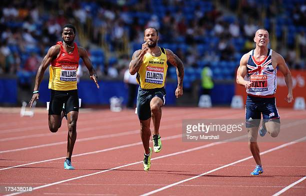 James Ellington of Belgrave Harriers winning the final of the Mens 200m with Delano Williams of Enfield and haringey Harriers and Richard Kilty of...