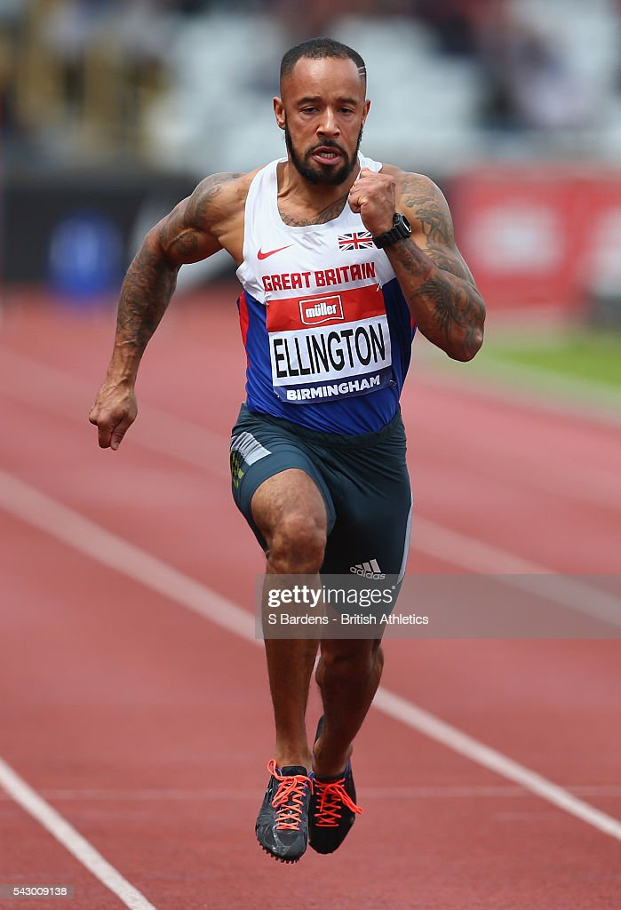 James Ellington of Great Britain competes in the men's 100m heats on day two of the British Championships Birmingham at Alexander Stadium on June 25, 2016 in Birmingham, England.