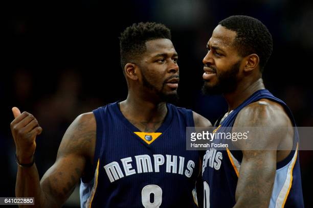 James Ennis and JaMychal Green of the Memphis Grizzlies look on during the game against the Minnesota Timberwolves on February 4 2017 at the Target...