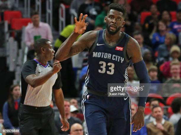 James Ennis III of the Detroit Pistons celebrates a three point shot during the first half of the game against the Chicago Bulls at Little Caesars...
