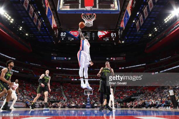 James Ennis III of the Detroit Pistons drives to the basket during the game against the Atlanta Hawks on February 14 2018 at Little Caesars Arena in...