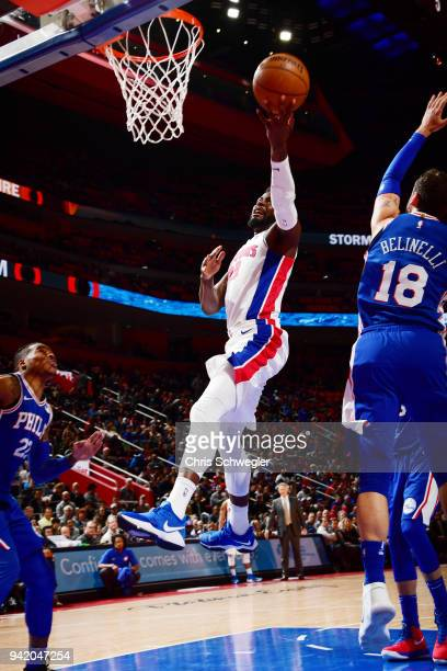 James Ennis III of the Detroit Pistons dunks against the Philadelphia 76ers on April 4 2018 at Little Caesars Arena in Detroit Michigan NOTE TO USER...