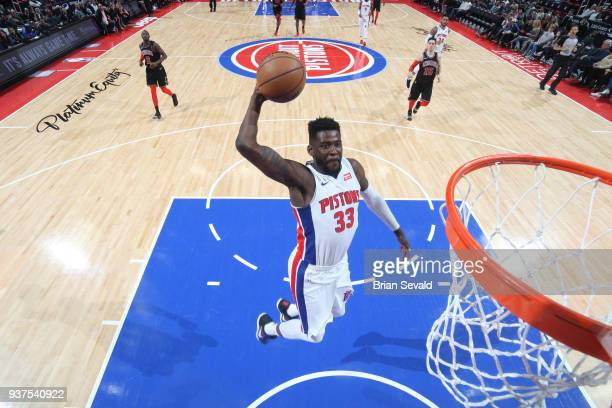 James Ennis III of the Detroit Pistons goes up for a dunk against the Chicago Bulls on March 24 2018 at Little Caesars Arena in Detroit Michigan NOTE...
