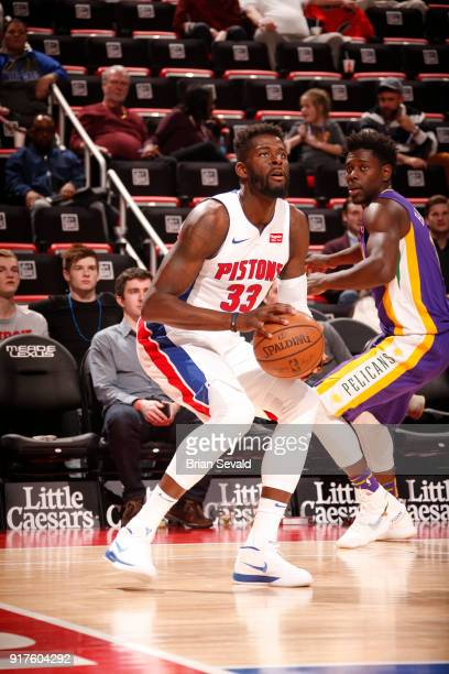 James Ennis III of the Detroit Pistons handles the ball against the New Orleans Pelicans on February 12 2018 at Little Caesars Arena in Detroit...