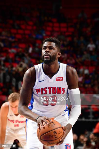 James Ennis III of the Detroit Pistons handles the ball against the Atlanta Hawks on February 14 2018 at Little Caesars Arena in Detroit Michigan...