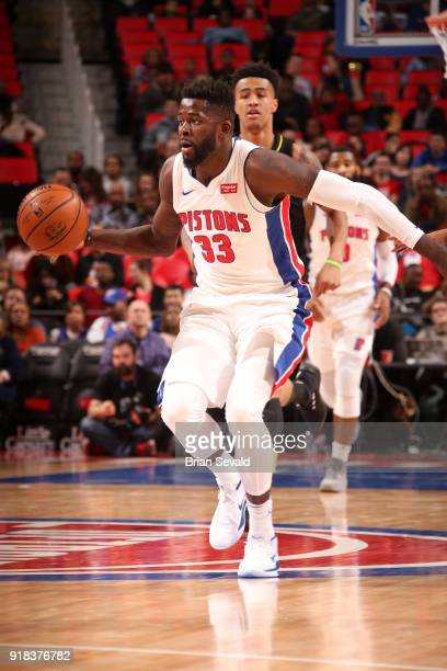 James Ennis III of the Detroit Pistons handles the ball during the game against the Atlanta Hawks on February 14 2018 at Little Caesars Arena in...