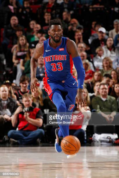 James Ennis III of the Detroit Pistons handles the ball during the game against the Portland Trail Blazers on March 17 2018 at the Moda Center in...