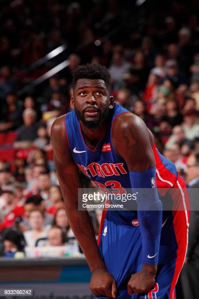 James Ennis III of the Detroit Pistons looks on during the game against the Portland Trail Blazers on March 17 2018 at the Moda Center in Portland...