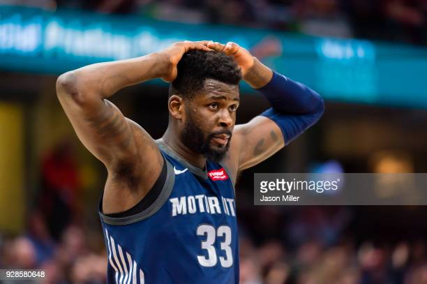 James Ennis III of the Detroit Pistons reacts to the game at the end of the first half against the Cleveland Cavaliers at Quicken Loans Arena on...