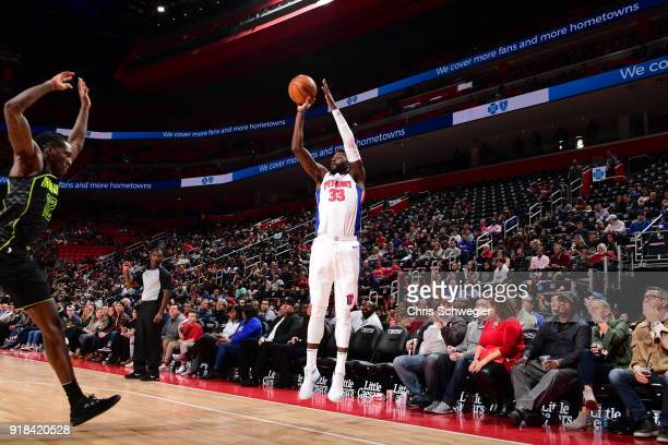 James Ennis III of the Detroit Pistons shoots the ball against the Atlanta Hawks on February 14 2018 at Little Caesars Arena in Detroit Michigan NOTE...