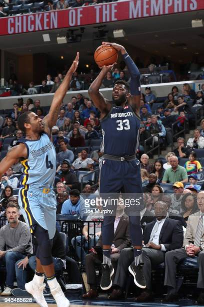 James Ennis III of the Detroit Pistons shoots the ball against the Memphis Grizzlies on April 8 2018 at FedExForum in Memphis Tennessee NOTE TO USER...