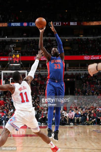 James Ennis III of the Detroit Pistons shoots the ball against the Chicago Bulls on April 11 2018 at the United Center in Chicago Illinois NOTE TO...