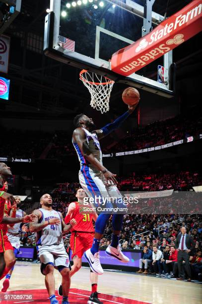 James Ennis III of the Detroit Pistons shoots the ball Atlanta Hawks on February 11 2018 at Philips Arena in Atlanta Georgia NOTE TO USER User...