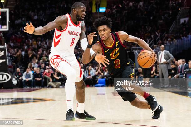 James Ennis III of the Houston Rockets gurus Collin Sexton of the Cleveland Cavaliers during the second half at Quicken Loans Arena on November 24...