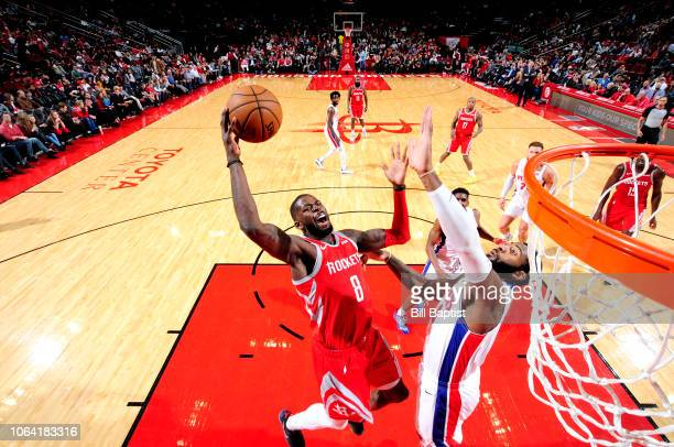 James Ennis III of the Houston Rockets shoots the ball against the Detroit Pistons on November 21 2018 at the Toyota Center in Houston Texas NOTE TO...