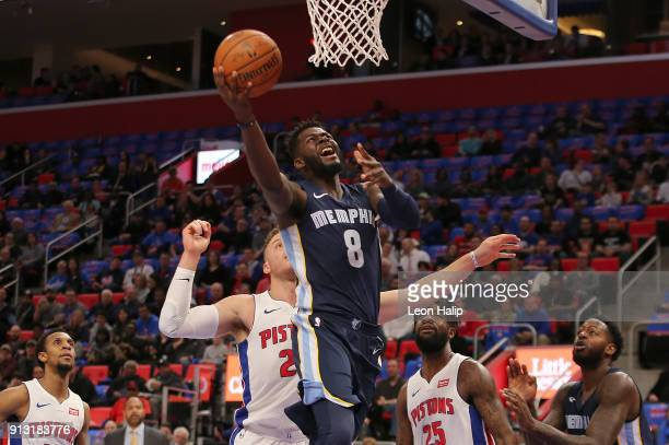 James Ennis III of the Memphis Grizzlies drives the ball to the basket as Blake Griffin of the Detroit Pistons defends during the first quarter of...