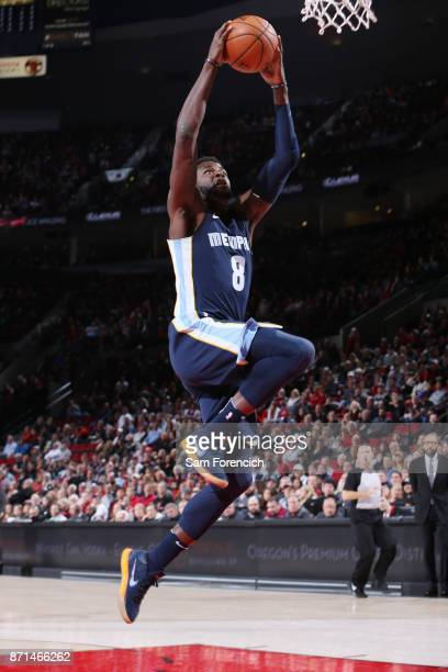 James Ennis III of the Memphis Grizzlies goes to the basket against the Portland Trail Blazers on November 7 2017 at the Moda Center in Portland...