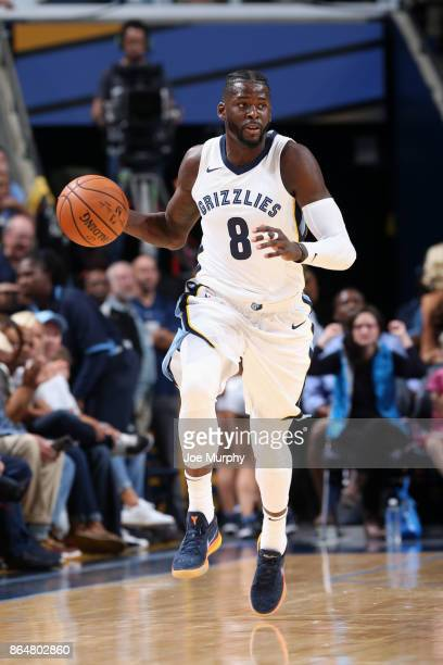 James Ennis III of the Memphis Grizzlies handles the ball against the Golden State Warriors on October 21 2017 at FedExForum in Memphis Tennessee...