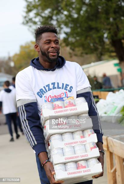 James Ennis III of the Memphis Grizzlies participates in a Thanksgiving giveaway on November 21 2017 at Green Leaf Learning Farm in Memphis Tennessee...