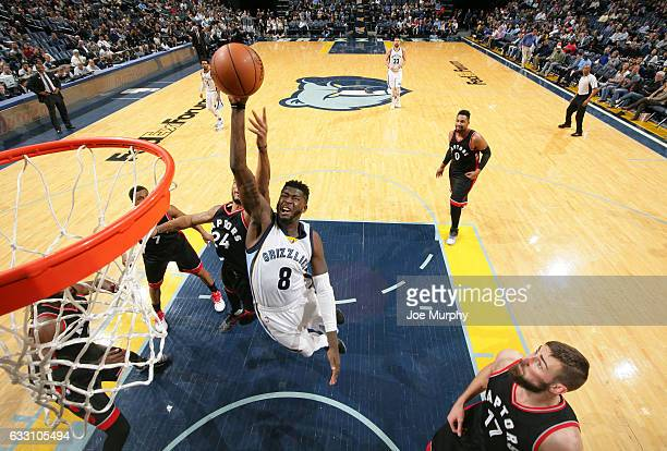 James Ennis of the Memphis Grizzlies drives to the basket and shoots the ball against the Toronto Raptors on January 25 2017 at FedExForum in Memphis...