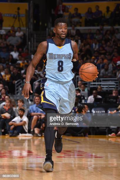 James Ennis of the Memphis Grizzlies handles the ball against the Los Angeles Lakers on April 2 2017 at STAPLES Center in Los Angeles California NOTE...